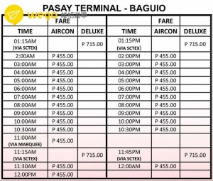 TO BAGUIO TIMETABLE